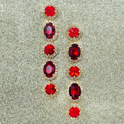 REGAL ROYALE STATEMENT EARRINGS (RED)