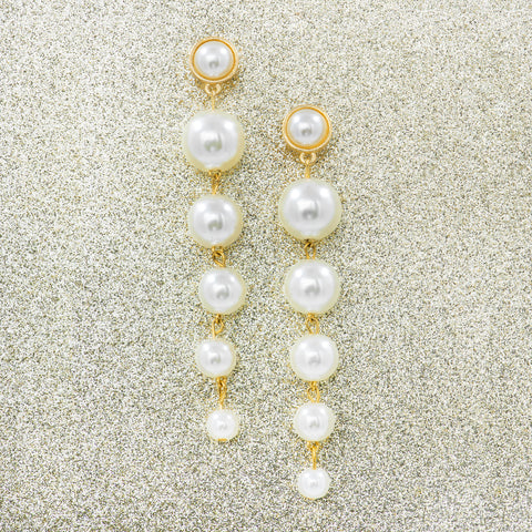 WINTER PEARL GLAM STATEMENT EARRINGS