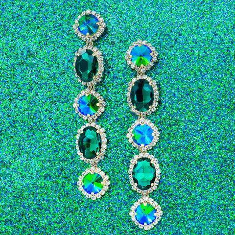 REGAL ROYALE STATEMENT EARRINGS (EMERALD)