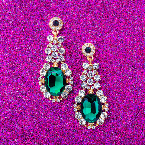 WINTER GREEN STATEMENT EARRINGS