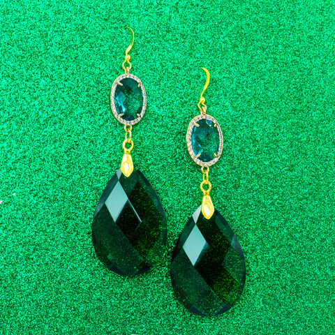 EVERGREEN SPARKLE STATEMENT EARRINGS