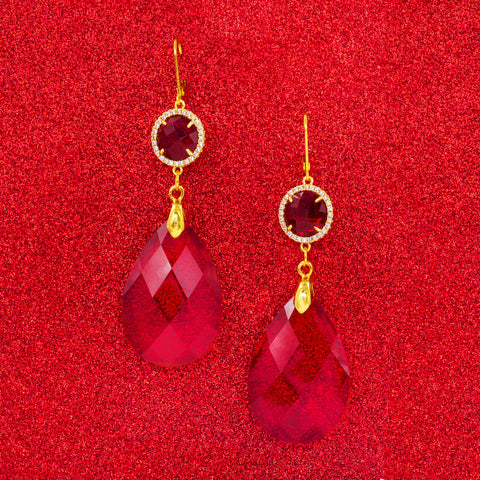 BONBON RED STATEMENT EARRINGS