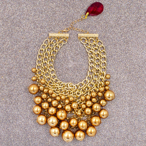 PARTY PEARL STATEMENT NECKLACE (GOLD)