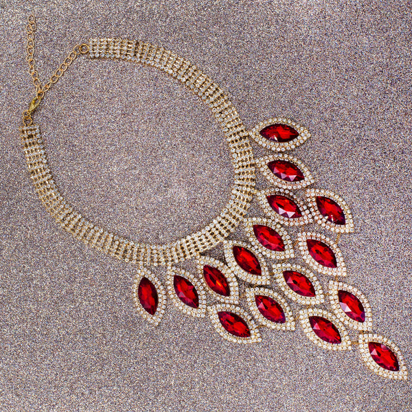 EYE OF GLAMOUR STATEMENT NECKLACE (RED)