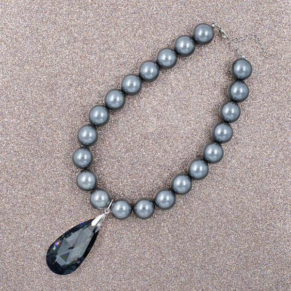 PEARL PASSION STATEMENT NECKLACE (GREY)