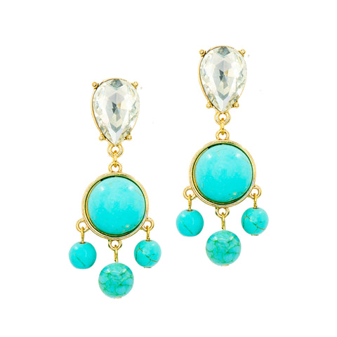 TURQUOISE GLAMOUR STATEMENT EARRINGS