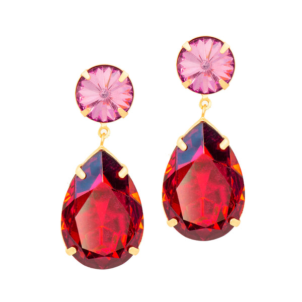POWER DUO STATEMENT EARRINGS (RED)