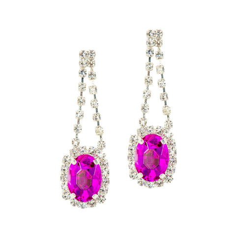 POP OF GLAM STATEMENT EARRINGS (FUCHSIA)