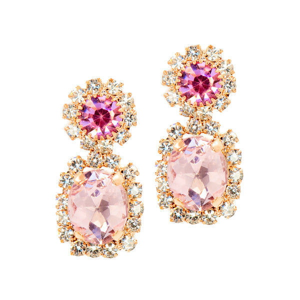 DEMURE GLAM STATEMENT EARRINGS (PINK)