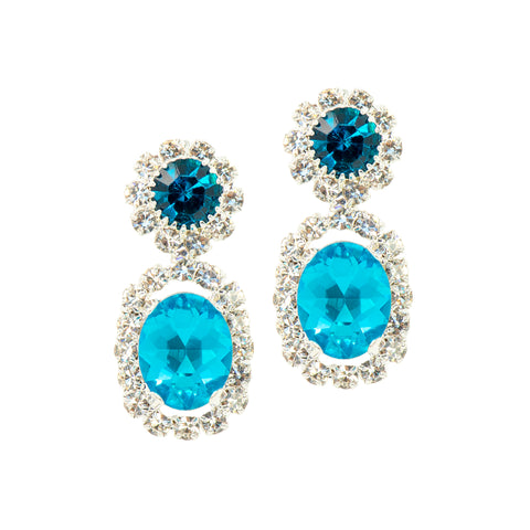DEMURE GLAM STATEMENT EARRINGS (BLUE)