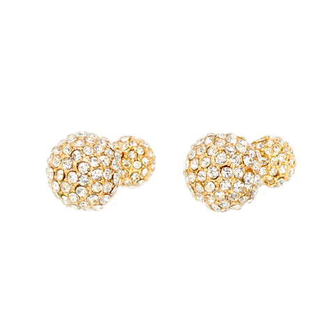 DOUBLE THE SPARKLE STATEMENT EARRINGS (GOLD)