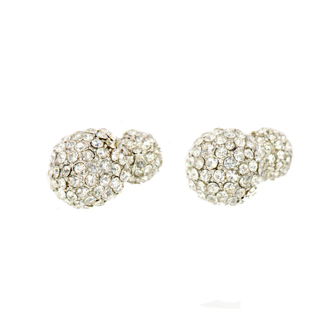 DOUBLE THE SPARKLE STATEMENT EARRINGS (SILVER)