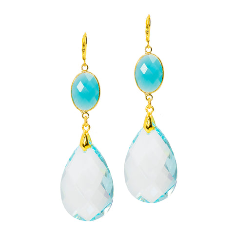 BLUE TRANQUILITY STATEMENT EARRINGS