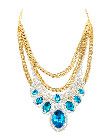 POP OF GLAM STATEMENT NECKLACE (TEAL)