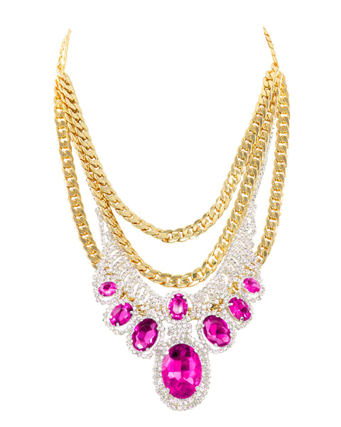 POP OF GLAM STATEMENT NECKLACE (FUCHSIA)