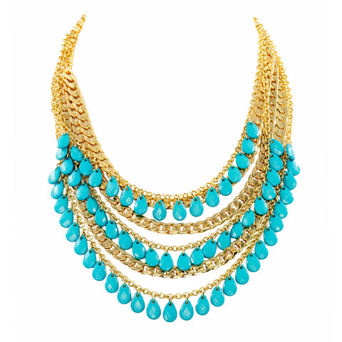 TURQUOISE GLAMOUR STATEMENT NECKLACE