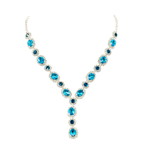DEMURE GLAM STATEMENT NECKLACE (BLUE)