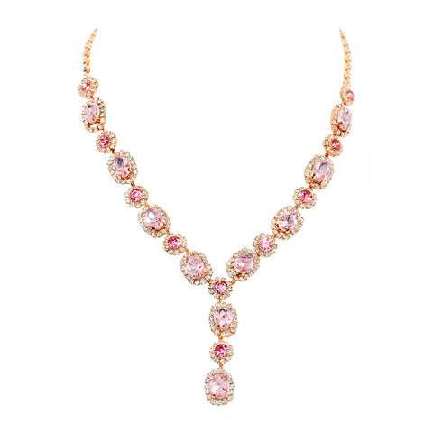 DEMURE GLAM STATEMENT NECKLACE (PINK)