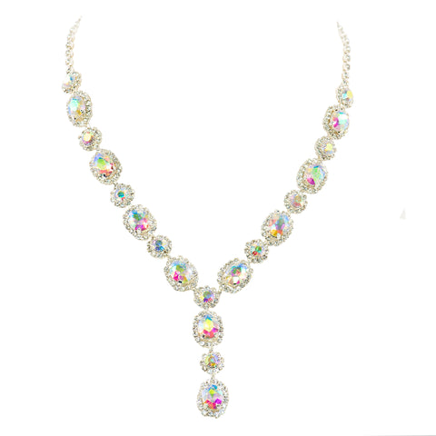 DEMURE GLAM STATEMENT NECKLACE (AURORA BOREALIS)