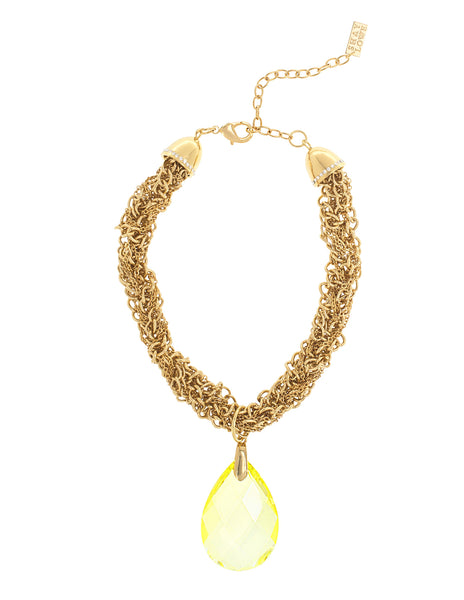 GLAMOUR TWIST STATEMENT NECKLACE (YELLOW)