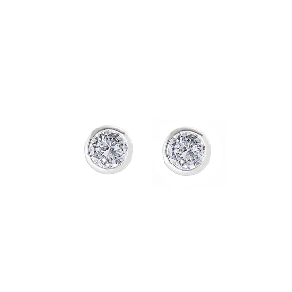 CLASSIC STATEMENT STUD EARRINGS (SILVER/CLEAR)