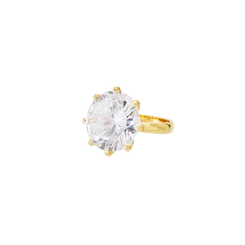 AINSLEY GLAMOUR STATEMENT RING (GOLD/CLEAR)