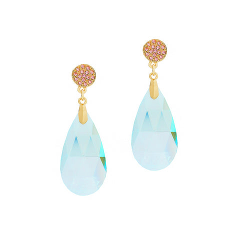 GO GLAM STATEMENT EARRINGS (LIGHT BLUE)