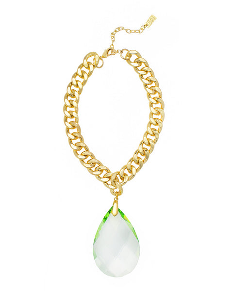 RED CARPET GLAMOUR STATEMENT NECKLACE (LIGHT GREEN)