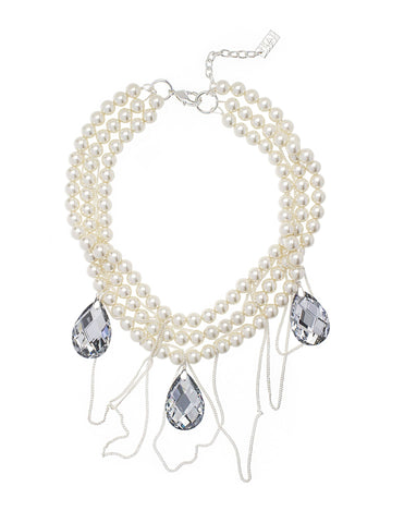 CRYSTAL CASCADE STATEMENT NECKLACE (OFF WHITE)