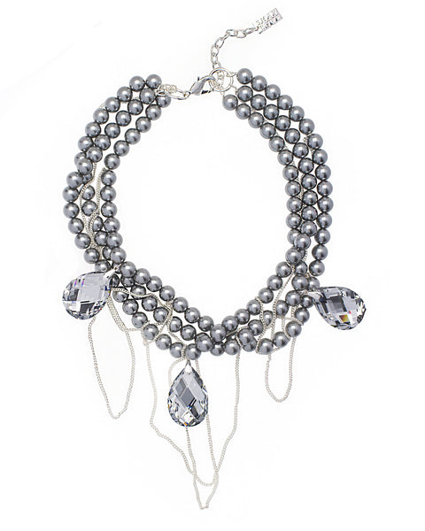 CRYSTAL CASCADE STATEMENT NECKLACE (GREY)