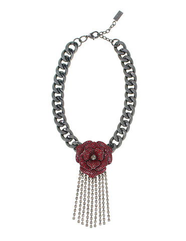OPULENT ROSE STATEMENT NECKLACE (SIAM)