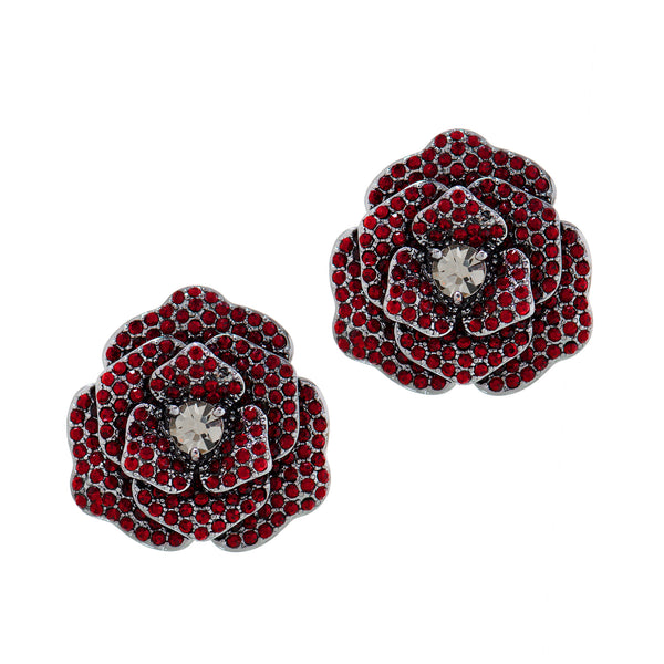 OPULENT ROSE STATEMENT EARRINGS (SIAM)