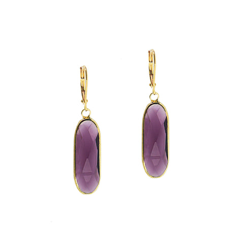 SPRING BLOOM STATEMENT EARRINGS (GOLD/AMETHYST)