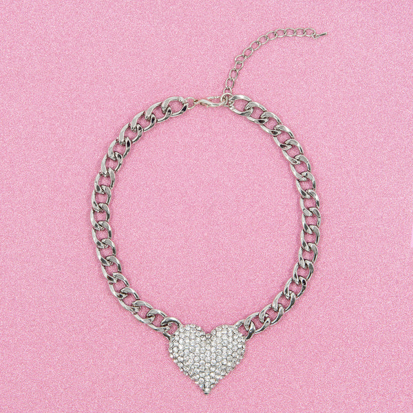 HIGHER LOVE STATEMENT NECKLACE (SILVER)