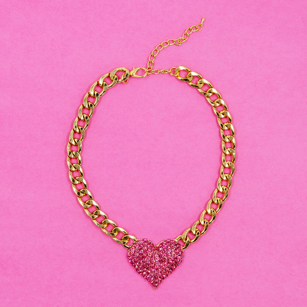HIGHER LOVE STATEMENT NECKLACE (PINK)