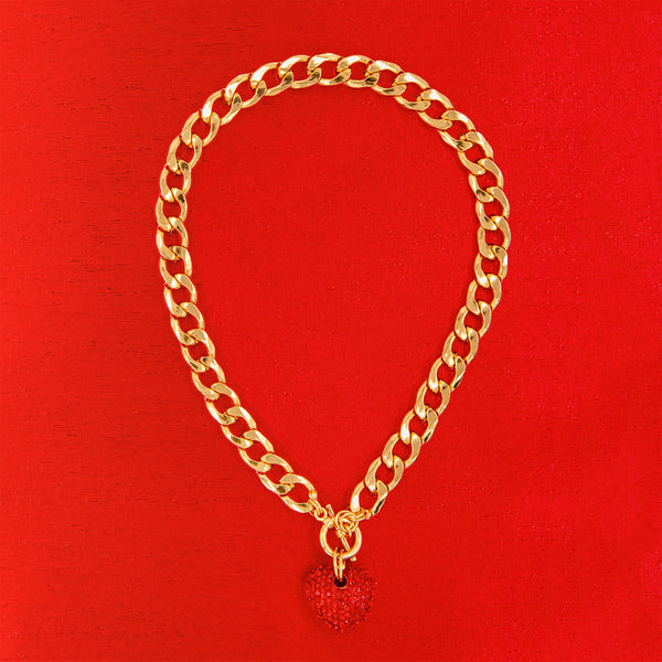 BIG LOVE STATEMENT NECKLACE (RED)