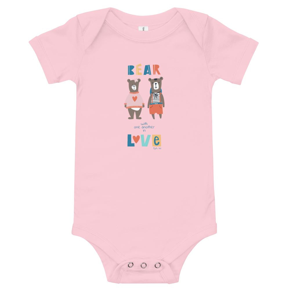 Bear With Each Other - Baby's One Piece Trini-T Ministries Pink 3-6m