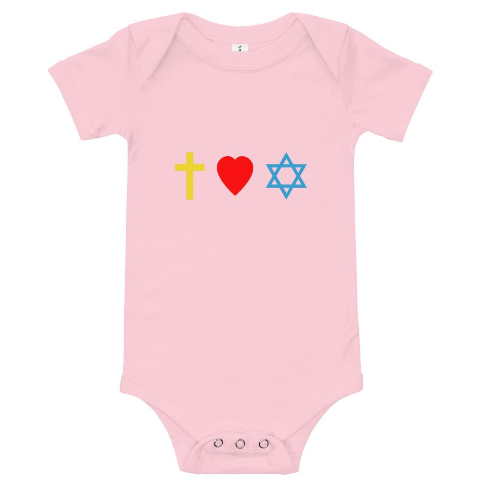 Cross, Heart, Star of David - Baby's One Piece Trini-T Ministries Pink 3-6m