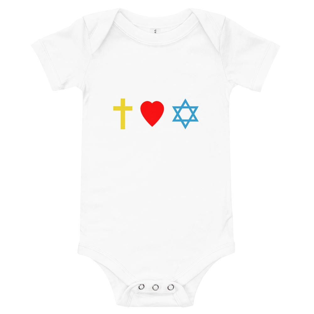 Cross, Heart, Star of David - Baby's One Piece Trini-T Ministries White 3-6m