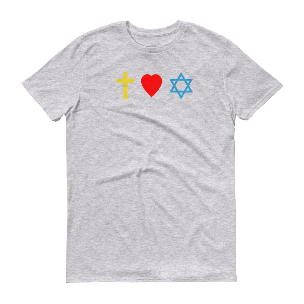 Cross, Heart, Star of David - Men's T Trini-T Ministry Heather Grey S