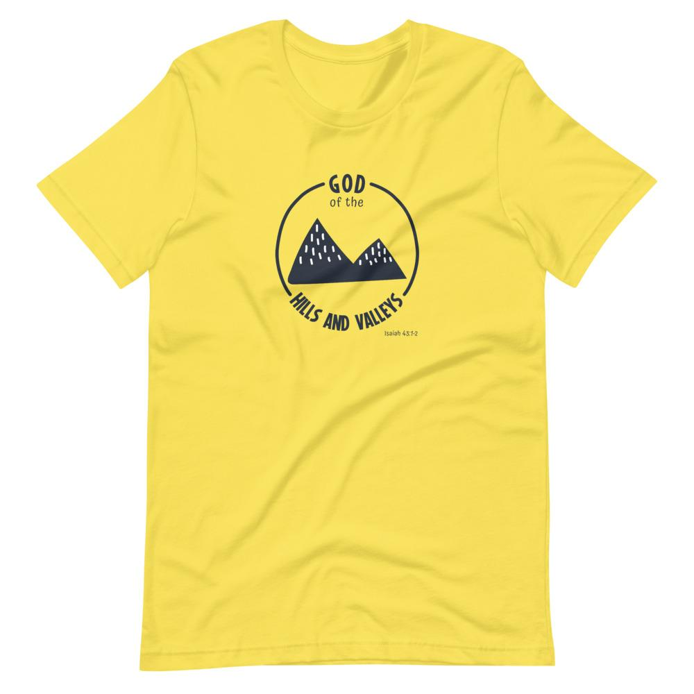 God of the Hills & Valleys - Women's T Trini-T Ministries Yellow S