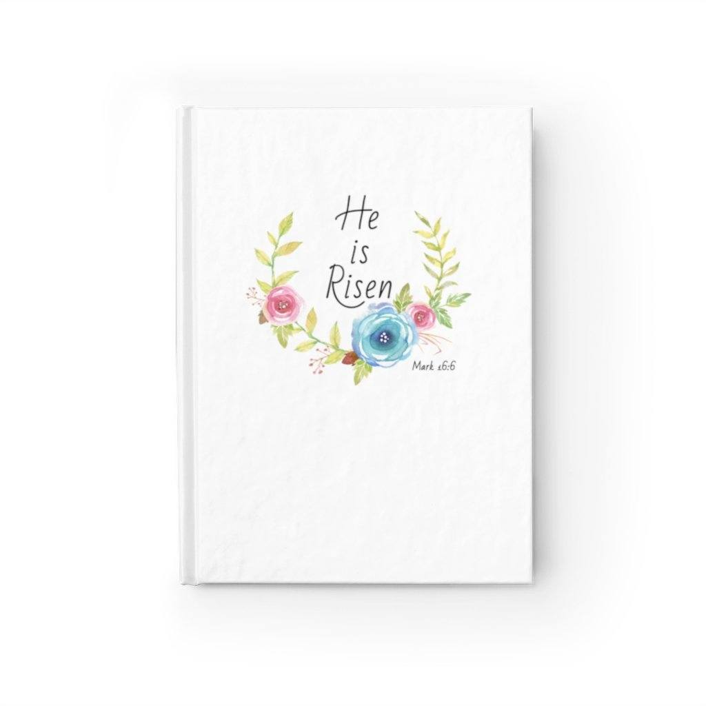 He Is Risen - Flowers -Journal - Ruled Line Paper products Printify Journal