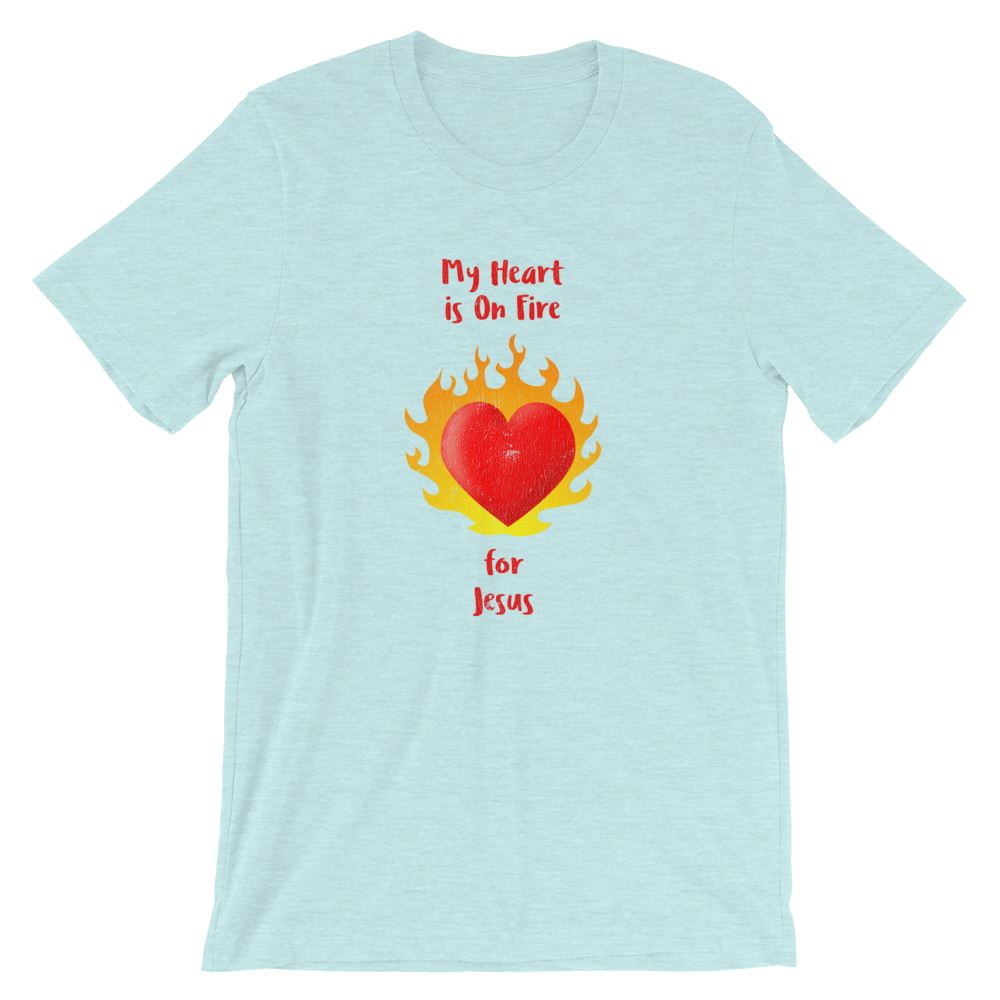 Heart On Fire - Women's T Trini-T Ministry Heather Prism Ice Blue XS