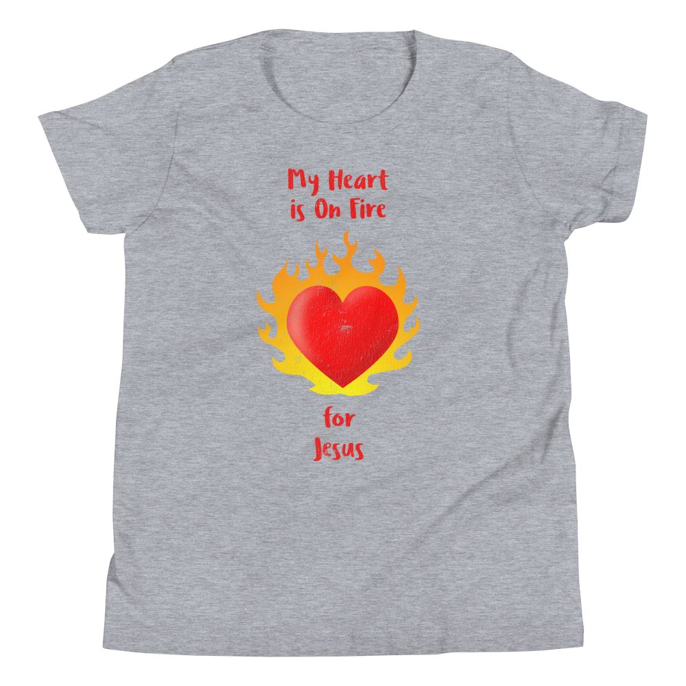 Heart On Fire - Youth US Trini-T Ministry Athletic Heather S