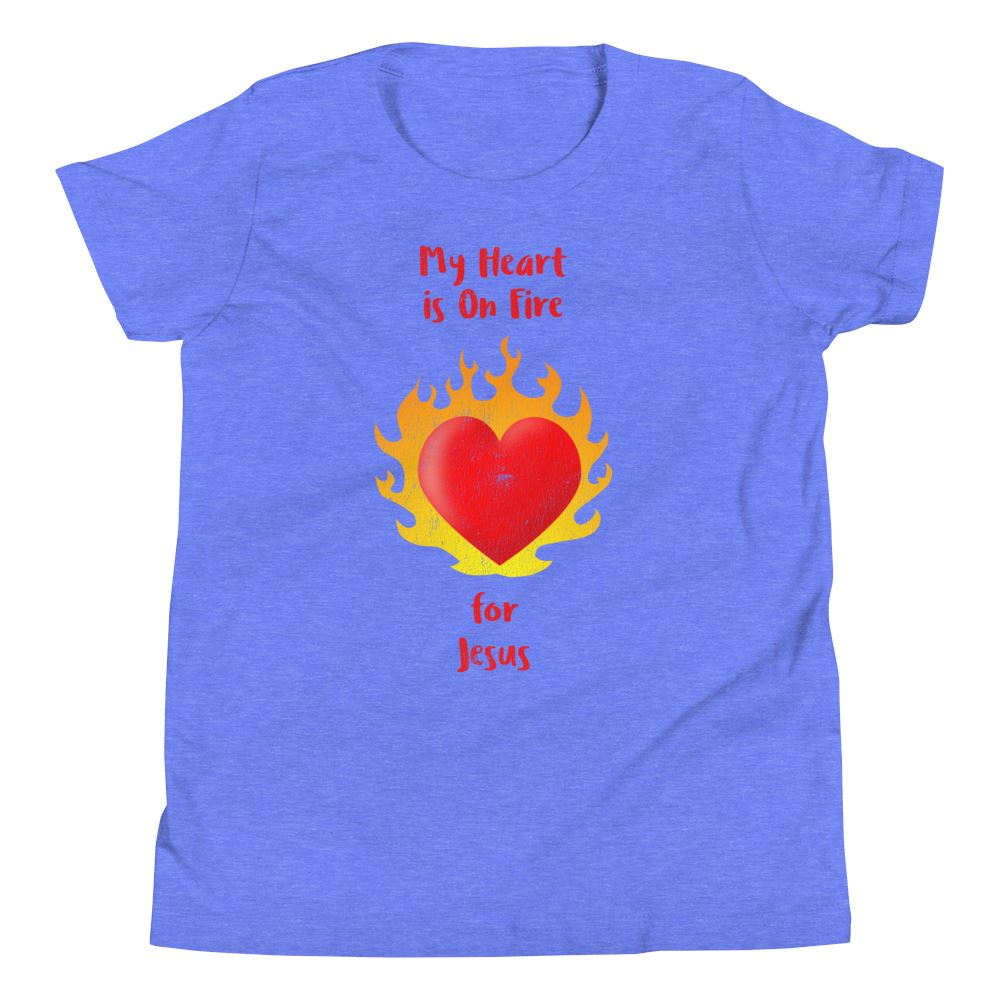 Heart On Fire - Youth US Trini-T Ministry Heather Columbia Blue S