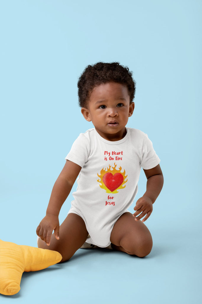My Heart Is On Fire - Baby's One Piece Trini-T Ministries
