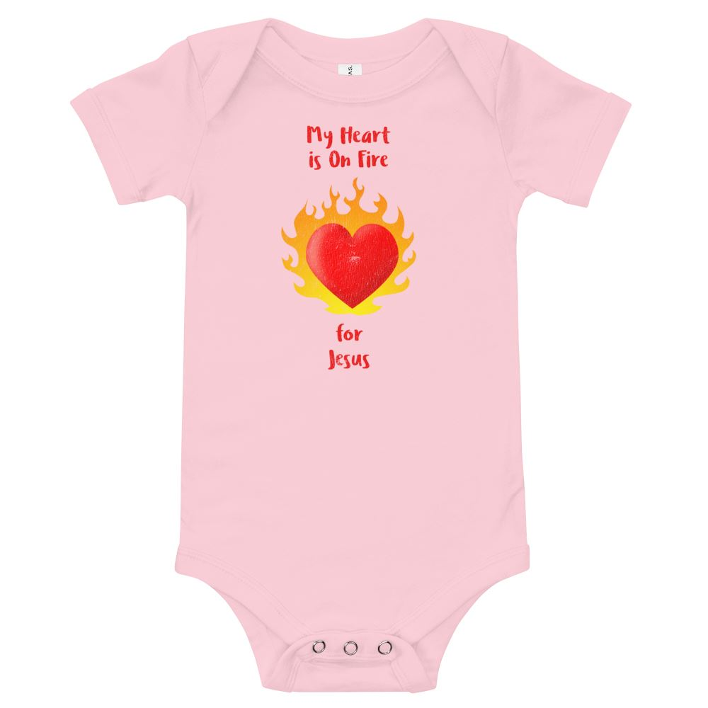My Heart Is On Fire - Baby's One Piece Trini-T Ministries Pink 3-6m