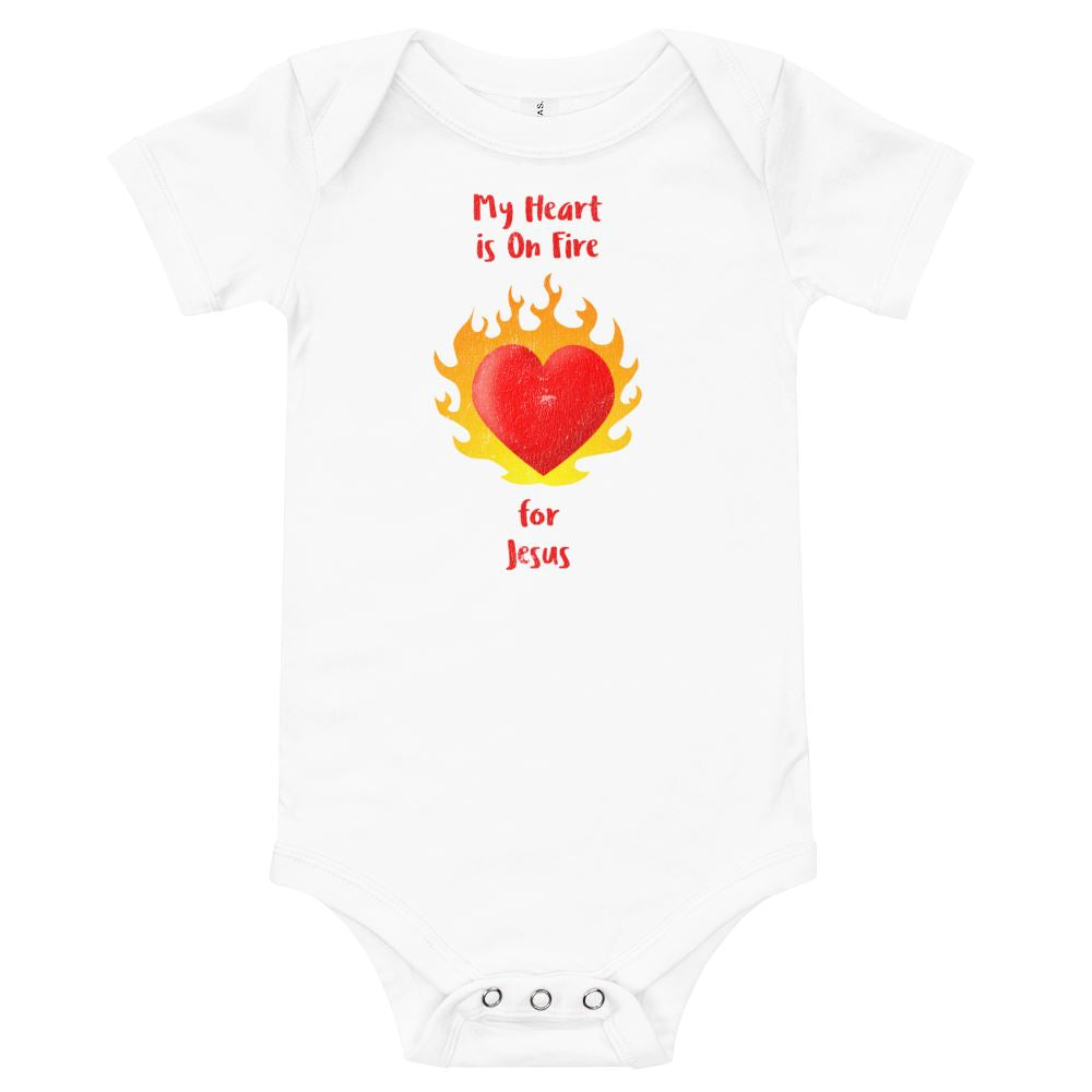 My Heart Is On Fire - Baby's One Piece Trini-T Ministries White 3-6m