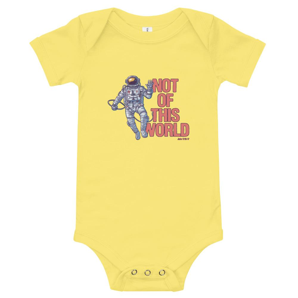 Not Of This World - Baby's One Piece Trini-T Ministries Yellow 3-6m