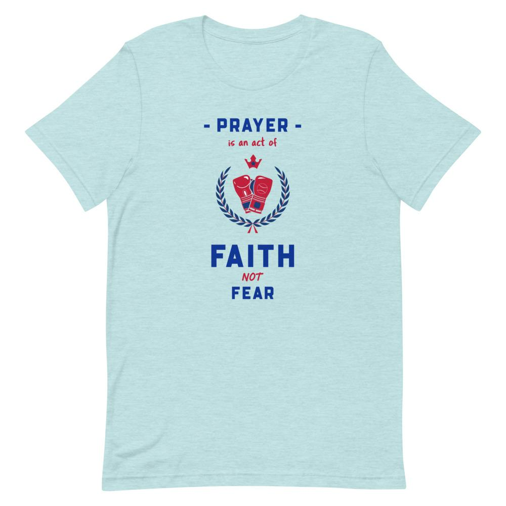 Prayer Is An Act Of Faith - Men's T Trini-T Ministries Heather Prism Ice Blue XS